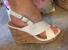 LADIES SHOES GLITTER WEDGES PLATFORM HEEL SANDALS PINK BOUTIQUE STRAPPY Sz 5 38