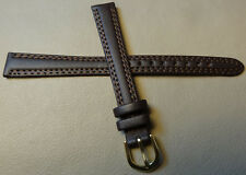 Womens Timex Dark Brown Padded Genuine Leather Calf 13mm EXTRA LONG Watch Band