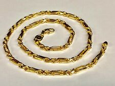 """Diamond Cut Figarope Chain/Necklace 30 grams 14kt Yellow Gold 24"""" 4.3 mm"""
