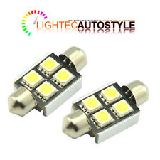 2 36mm 4 SMD LED Festoon ERRORE CANBUS libero Bianco Targa Lampadina 239 35mm 37mm