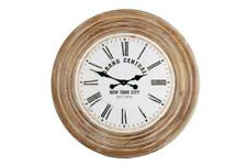 70cm Solid Fir Wood Round Antique Rustic Style Roman Numeral Wall Hanging Clock