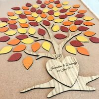 Rustic Wooden Tree Wedding Guestbook Autumn Colours Leaves Personalised Trunk