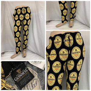 Guinness Beer Pajama Pants Bottoms Small Black Yellow Cotton Mint YGI O1-65
