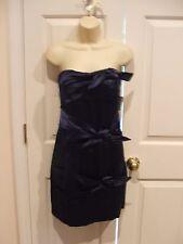 NWT RUBY ROX NAVY satin STRAPLESS W BUILT IN BRA PARTY/PROM/COCKTAIL dress siz 9