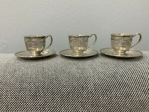 Vtg Antique Frank Whiting Sterling Silver Set of 3 Demitasse Cups & Saucers