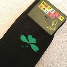 NEW! LUXURY COTTON BLACK GREEN SHAMROCK NOVELTY MENS DESIGNER COTTON SOCKS SALE