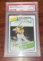 RICKEY HENDERSON 1980 Topps Rookie Card RC PSA 8 HOF A's 🔥🔥🔥