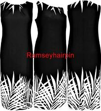 EX EVANS BLACK & CREAM PALM DRESS WITH STRETCH IN SIZES 18 20 22 24 26 28 RP £48