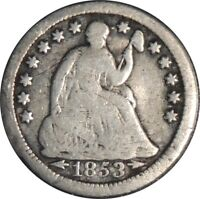 1853-O H10C SEATED SILVER HALF DIME VG DETAILS DAMAGE / BENT / CULL  041521044