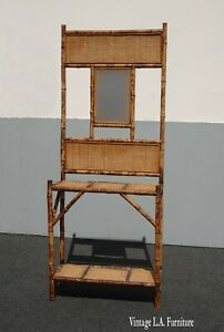 Vintage French Country Bamboo Rattan Hall Tree Side Table w Mirror Asis