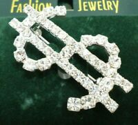 VINTAGE 1980s DOLLAR $ SIGN BROOCH CLEAR GLASS RHINESTONES SILVER TONE METAL