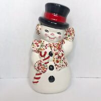"VINTAGE 1970s ATLANTIC MOLD CERAMIC CHRISTMAS SNOWMAN HAND PAINTED 12"""