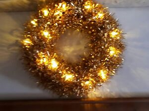 Stunning Gold Tinsel Wreath With LED Lights Christmas lights fireplace/ window