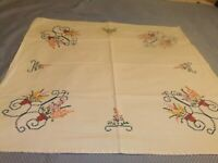 Tablecloth Vintage Small Bridge Cloth with Cross Stitch & Embroidery  #90TC