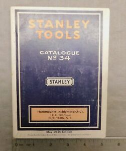 1940 Stanley Tools Catalog No. 34  Pre WWII Tool & Plane Catalogue