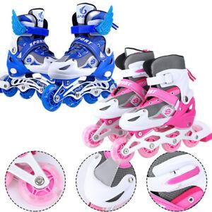 Kinder Inliner Skates verstellbar Größe 26-41 Inline Rollschuhe blinkende Rolle