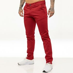 Enzo Mens Chinos Trousers Slim Fit Skinny Stretch Cotton Pants Jeans All Waists