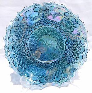 "Vintage Iridescent Rainbow Diamond Point Carnival Glass Blue Ruffle 10 ½"" Bowl"