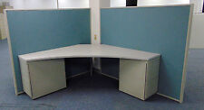 Large 4-Unit Cubicle Desk System-4 Desks, 8 Drawer Units, 4 Dividers! Nice!