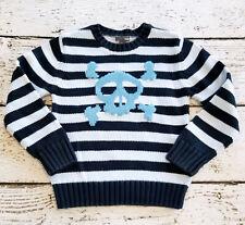 H&M Boys Blue Striped Skull Long Sleeve Thick Crew Neck Sweater 7 8 Euc