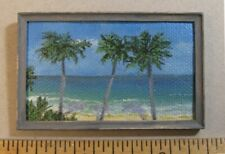"1:12 scale Miniature Painting ""3 Palms 2021"" OOAK Artist made LesBonArts"