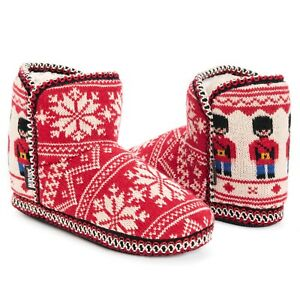 NWT Muk Luks Leigh Red/Ivory Sweater Knit NUTCRACKERS Xmas Slipper Boots L 9/10