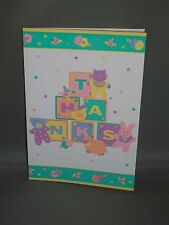 Vintage Baby Thank You Cards w/Envelopes - Baby Blocks/Animals - Set of 8 - New