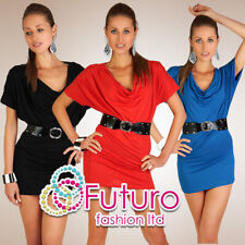 Ladies Loose Dress with Draped Neck Kimono Style One Size Short Sleeves Top 5064