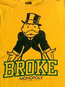 Officially Licensed Hasbro T SHIRT Mr Monopoly Game Uncle Pennybags BROKE Medium