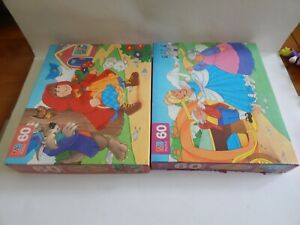 Vintage 93 LITTLE RED RIDING HOOD & CINDERELLA MB 60 Piece STORYBOOK PUZZLE LOT