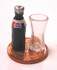 1:12 Scale Small Pepsi Bottle T1 & Glass Dolls House Pub Bar Cafe Drink L13