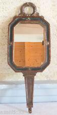ancien face à main miroir glace bois stuqué vert doré mirror