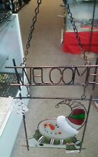 Hanging Painted Metal and Glass Snowman Christmas Holiday Winter Welcome Sign