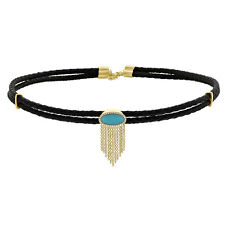 14K Yellow Gold Diamond Oval Turquoise Leather Cord Fringe Choker Necklace