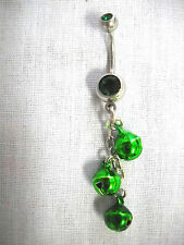 BOLLYWOOD DANCER GREEN DANGLING JINGLE BELLS CHAIN EMERALD GREEN CZ BELLY RING