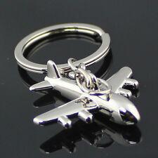 2pcs Polished Aircraft Airplane Model Metal Keychain Key Chain Ring Key Fob