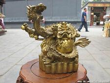 "9.5""China Pure Brass Dragon Cornucopia wealth Money Lucky feng shui statue"