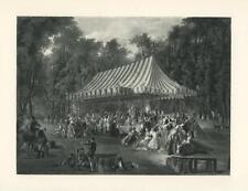 Antique Canopy Tent Feast Dinner Prince De Conti Horse Horn Dog Versailles Print