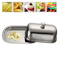 Professional Stainless Steel Butter Dish Set Serving Tray & Lid Holder Storage