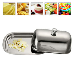 Professional Stainless Steel Butter Dish Serving Tray & Lid Holder Storage Case