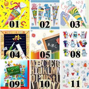 20 Servietten Einschulung Schulanfang Schule Alphabet ABC Zuckertüten Tischdeko