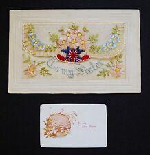 WW1 Silk Postcard To My Dear Sister Knapp Lane Ledbury Herefordshire HR8