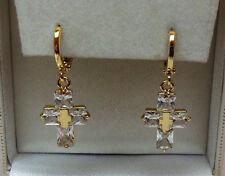 9ct Gold Plated Cubic Zirconia Cross Drop Earrings, 11mm wide x 30mm drop.