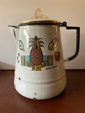 Vintage Georges Briard Enamelware Coffee Pot Percolator in the Ambrosia Design