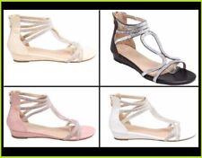 Sandalias y chanclas de mujer plana sin marca de piel sintética