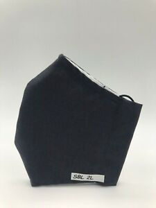 NEW Adult Cloth Face Mask Charcoal Black Nose Wire 100% Cotton SBL2L