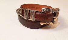 VTG Brighton Onyx Brown Alligator Embossed Leather Belt w/Silver Buckle Sz. 32