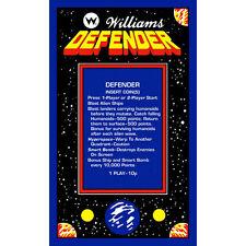 Defender UK Video Arcade Game Instruction Sticker - Gaming Machine Decal