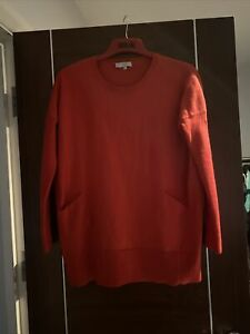 Hobbs Tomato Red Merino Wool Thick Knit Relaxed Jumper Front Pockets  Size M