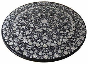 "48"" Center Sofa Table Top Black Marble Pietra dura Inlay Work"